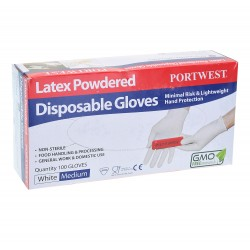 Guante desechable de latex con polvo PORTWEST A910