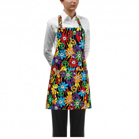 Delantal con peto EGOCHEF 6000147A PEACE AND LOVE (pack 2 uds.)